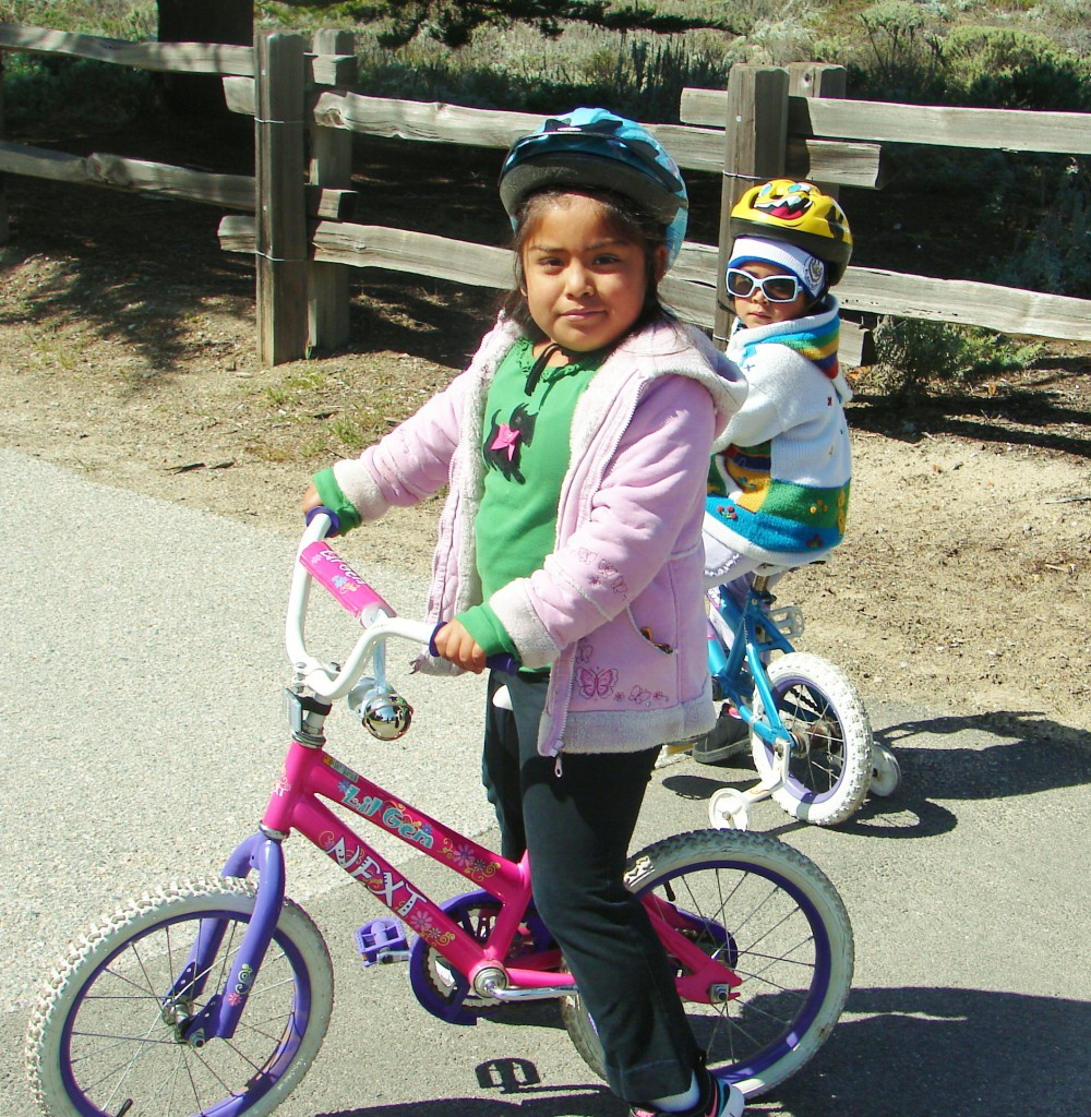 Two little sisters on the rec trail