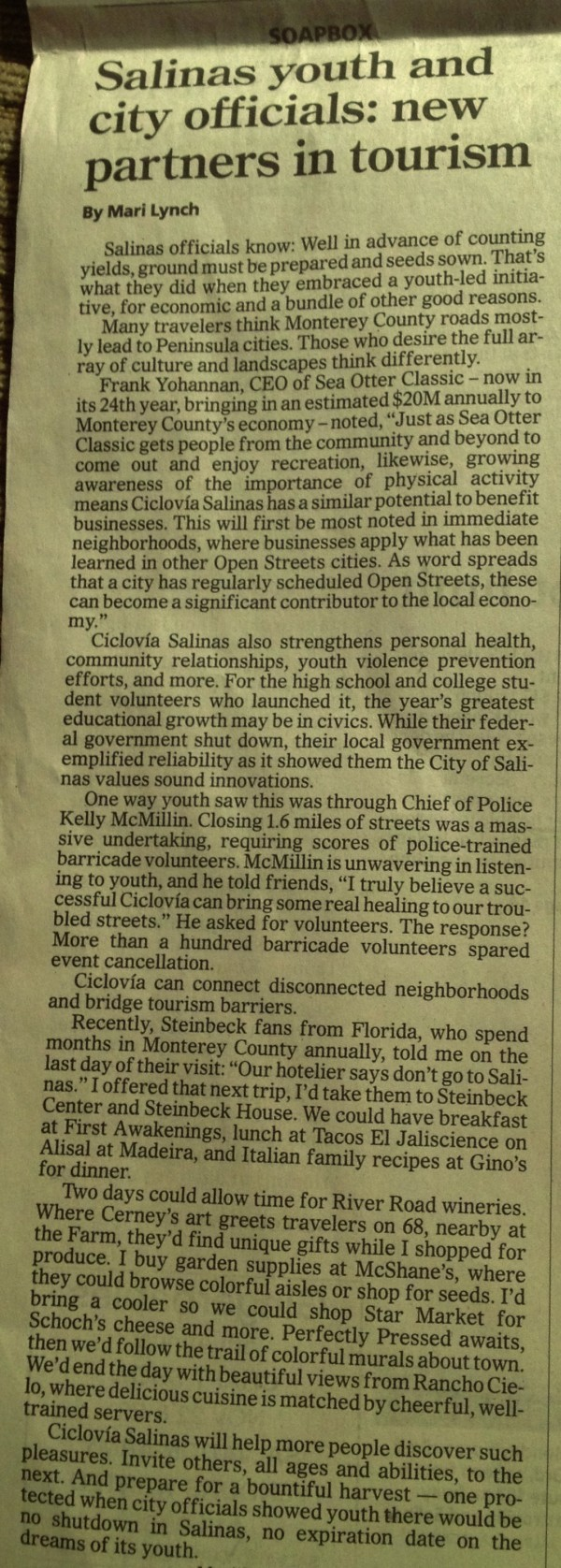 Salinas Californian 16 Oct 2013 - pg 2A - Youth and city partner for tourism - Ciclovia - by Mari Lynch