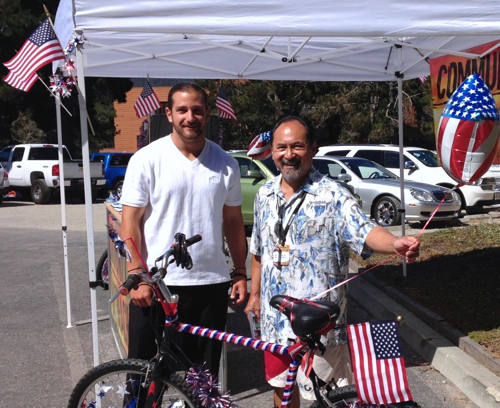 29 June 2014 and prior 009 MPC student and older guy re bike parade - featured