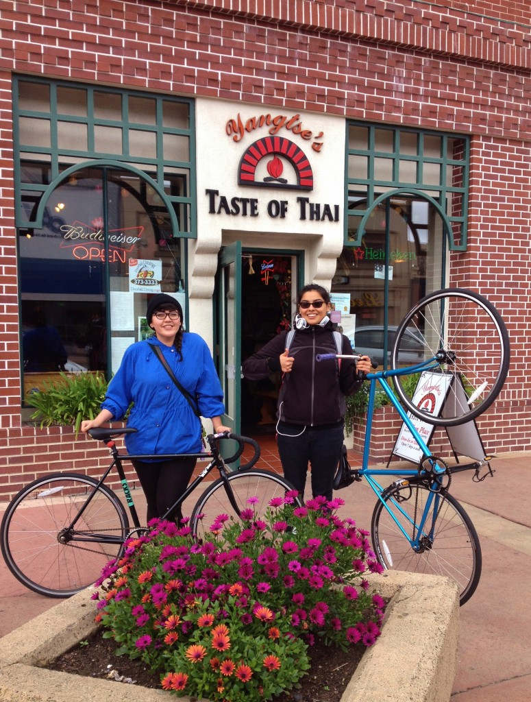 Fixie girls in Oldtown Salinas March 2014 - at Yangtse's - also burrito riders