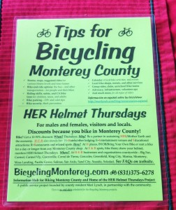 Tips for Bicycling Monterey County and HER Helmet Thursdays