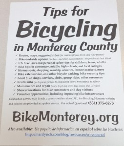 Tips for Bicycling Monterey County flier PDF