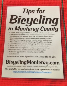 Tips for Bicycling Monterey County poster